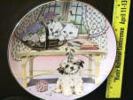 Click here to enlarge image and see more about item MC1: Mixed Company TWO AGAINST ONE P. Pam Cooper Royal Worcester UK 2 cats 1 dog in house