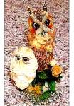 Click to view larger image of NESTING INSTINCTS OWLS : PEACEFUL PERCH MOM & BABY OWLET by R. WILLIS (Image1)
