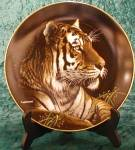 Click here to enlarge image and see more about item NMC1: Siberian Tiger NATURE'S Majestic Cats Artist M. Richter Hamilton Collection Plates