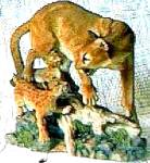 Click here to enlarge image and see more about item NMCF2: Nature's Majestic Cats  Cougar and Cubs British Artist David Geenty Endangered Animal