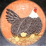 Click here to enlarge image and see more about item ONEIDA2: WARREN KIMBLE HENNY & PENNY RED Sakura Casual Dining Oneida Stoneware Salad Hen 3CHIX