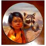 Click to view larger image of Dark Eyed Friends : Pride Of America's Indians - Raccoon Coon + Indian Brave Boy (Image1)