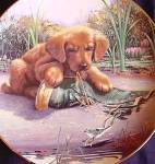 Click here to enlarge image and see more about item PUP3: CATCH OF THE DAY GOLDEN RETREIVER PUPPY PLAYTIME Art: Jim Lamb River Shore Boot Frog