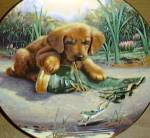 Click to view larger image of CATCH OF THE DAY GOLDEN RETREIVER PUPPY PLAYTIME Art: Jim Lamb River Shore Boot Frog (Image2)