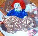 Click here to enlarge image and see more about item PUP5: 1987 PUPPY PLAYTIME FUN & GAMES POODLES Artist Jim Lamb River Shore Raggedy Ann