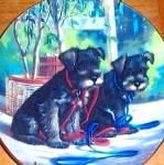 Click to view larger image of PUPPY PLAYTIME NEW LEASH ON LIFE SCHNAUZER Puppies Artist Jim Lamb River Shore (Image1)