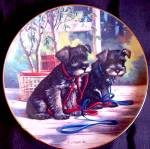Click to view larger image of PUPPY PLAYTIME NEW LEASH ON LIFE SCHNAUZER Puppies Artist Jim Lamb River Shore (Image2)