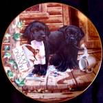 Click to view larger image of PUPPY PLAYTIME CABIN FEVER BLACK LABRADORS Artist Jim Lamb River Shore (Image3)