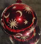 Click here to enlarge image and see more about item RADKO14: CELESTIAL RED BALL 87-021-1 Moon Stars Moons Christopher Radko POLAND Ornament Ornie