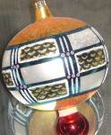 Click here to enlarge image and see more about item RADKO26: VALCOURT Ball 94-213-0 1994 Christopher Radko POLAND Geometric Design Ornament Ornie
