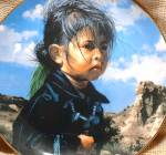 Click here to enlarge image and see more about item SWANSON3: NAVAJO LITTLE ONE #1 The Proud Nation Artist Ray Swanson Girl Silver Turquoise jewelr
