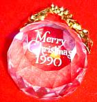 Click here to enlarge image and see more about item SWARO35: 1990 SWAROVSKI CRYSTAL ANNUAL DATED Crystal Ball ORNAMENT