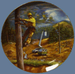 Click here to enlarge image and see more about item TEL7: STORM WATCH ALL IN A DAYS WORK Linemen BELL ATLANTIC Mogus Harkrader Pioneers America