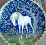 Click here to enlarge image and see more about item UNICORN34: Unicorns In Dreamer's Garden SMELL OF ROSES Einhorn Licorne Duft erleben Les parfum d