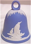 Click here to enlarge image and see more about item WEDG1: #1 Wedgwood New Year Bell 1979 Pale Blue White Jasper 3 in penguin Penguins Wedgewood