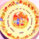 Click here to enlarge image and see more about item WEDGWOOD2: OAKAPPLE WOOD Happy Birthday Plate Lop-ear Amy Pippin Pollensnuff Vegetable Competiti