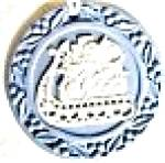 Click here to enlarge image and see more about item WEDGWOODO10: 1993 WEDGWOOD WEDGEWOOD BLUE JASPER ANNUAL Sled Sleigh Toys Wreath Round Flat #6 7663