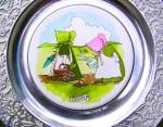 Click here to enlarge image and see more about item WILTON14: Wilton Columbia Sunbonnet Babies China Pewter Plate Friday Celery Radishes Frog Cows