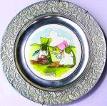 Click to view larger image of Wilton Columbia Sunbonnet Babies China Pewter Plate Friday Celery Radishes Frog Cows (Image2)