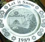 Click here to enlarge image and see more about item WILTON16: Wilton Armetale Annual Christmas Holiday Plate 1989 Let it Snow Pewter Song Series 89