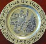 Click here to enlarge image and see more about item WILTON19: Wilton Armetale Annual Christmas DECK THE HALLS Holiday Plate 1990 Pewter Song Series