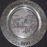 Click to view larger image of Wilton Armetale Annual Christmas JINGLE BELLS Holiday Plate 1991 Pewter Song Series91 (Image2)