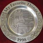 Click to view larger image of Wilton Armetale Annual Christmas MY FAVORITE THINGS Holiday Plate 1998 Song Series (Image1)