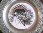 Click here to enlarge image and see more about item WILTON29: Wilton Pewter Plate Covered Bridge Winter Scene Horse Wagon Sleigh Home Tree Fine $50