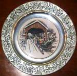 Click to view larger image of Wilton Pewter Plate Covered Bridge Winter Scene Horse Wagon Sleigh Home Tree Fine $50 (Image2)
