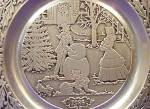 Click here to enlarge image and see more about item WILTON2: 1986 '86 WILTON #9 CURRIER & IVES Pewter Dated Victorian Family CHRISTMAS Snowman MIB