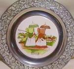 Click here to enlarge image and see more about item WILTON31: Wilton Sunbonnet Babies China Pewter Plate Sunday Days Of The Week Fishing Umbrella