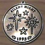 Click here to enlarge image and see more about item WILTON6: 1993 Wilton Armetale Christmas Carol Silent Night Pewter Stars 3 in. Round Ornaments