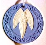 Click here to enlarge image and see more about item WWO2: 1989 Wedgwood Annual Round Flat J1000 #7358 #2 Blue Jasper Angel Wedgewood MIB