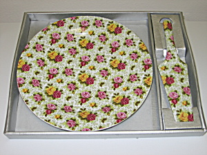 Baum Bros Formalities Rose Chintz Cake Plate & Server