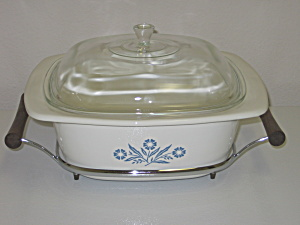 Corning Blue Cornflower 4Qt Dutch Oven Roaster & Holder (Image1)