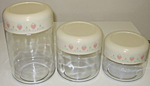 Corelle Forever Yours Glass Canister Storage Jars Set
