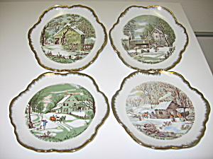 Currier & Ives Collector Wall Plates Gold Trim Set Of 4