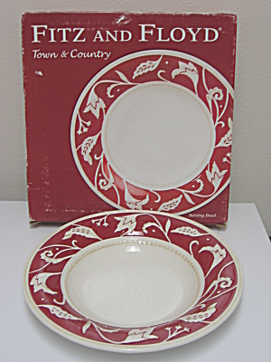 Fitz u0026 Floyd Town And Country Large 14in Serving Bowl & Fitz and Floyd - Antique China Antique Dinnerware Vintage China ...