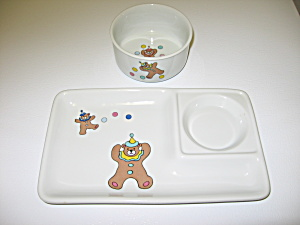 YChina Japan Circus Party Bear Child Plate & Bowl (Image1)