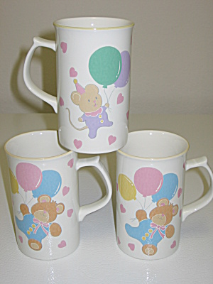 Mikasa Party Bears W/ Balloons Cc101 3 Tall Mugs Cups