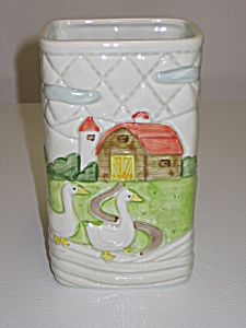 Otagiri Japan 1982 Ducks Geese Farm Utensil Holder Vase (Image1)