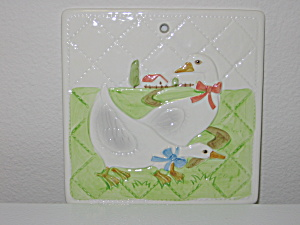 Otagiri Japan 1982 Ducks Geese Farm Trivet Wall Hanger (Image1)