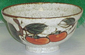 Otagiri Omc Japan Serving Bowl Red Orange Fruit Leaves