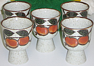 Otagiri Omc Japan 5 Egg Cups Red Orange Fruit & Leaves