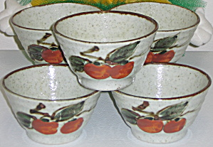 Otagiri OMC Japan 5 Rice Bowls Red Orange Fruit Leaves (Image1)
