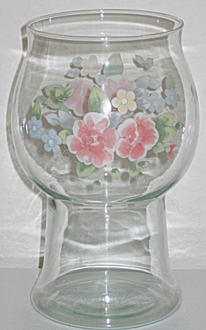 Pfaltzgraff Tea Rose Glass Pillar Float Candleholder