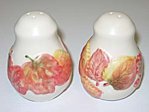 Salt Pepper Shakers Stoneware w/ Autumn Fall Leaves (Image1)