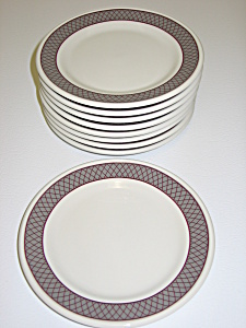 Shenango Anchor Hocking Set Of 8 Bread Plates Grey Band