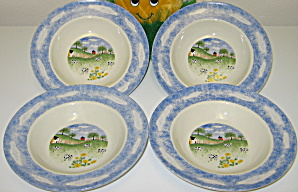 Tienshan Folkcraft Country Side Cows Rimmed Soup Bowls