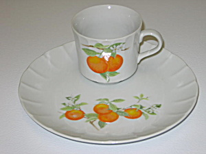 Toscany Mandarin Orange Lunch Plate & Cup